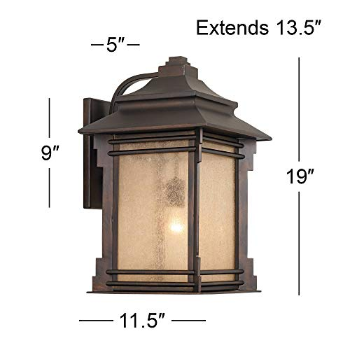 Hickory Point Rustic Farmhouse Outdoor Wall Light Fixture Walnut Bronze 19 Lantern Frosted Cream Glass For Exterior House Porch Patio Deck Garage Franklin Iron Works 0 4