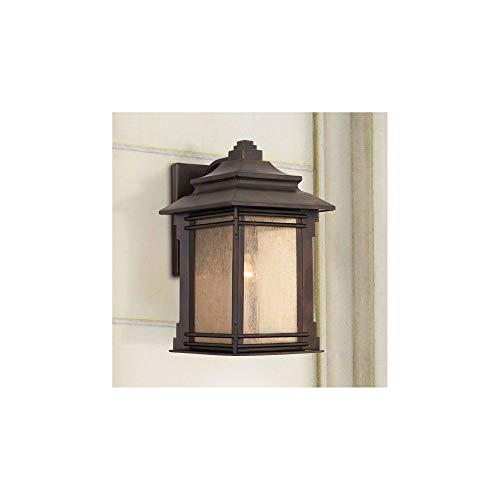 Hickory Point Rustic Farmhouse Outdoor Wall Light Fixture Walnut Bronze 19 Lantern Frosted Cream Glass For Exterior House Porch Patio Deck Garage Franklin Iron Works 0