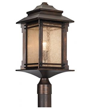 Hickory Point Rustic Outdoor Post Light Walnut Bronze Vintage 21 12 Frosted Cream Glass Lantern For Exterior Garden Yard Franklin Iron Works 0 0 300x360