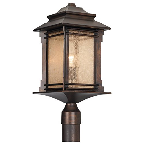 Hickory Point Rustic Outdoor Post Light Walnut Bronze Vintage 21 12 Frosted Cream Glass Lantern For Exterior Garden Yard Franklin Iron Works 0 0