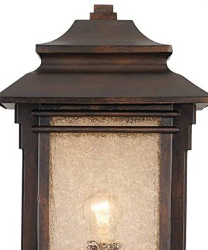 Hickory Point Rustic Outdoor Post Light Walnut Bronze Vintage 21 12 Frosted Cream Glass Lantern For Exterior Garden Yard Franklin Iron Works 0 3 300x360