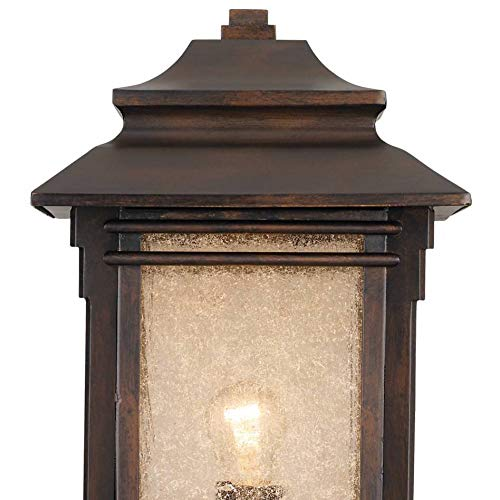 Hickory Point Rustic Outdoor Post Light Walnut Bronze Vintage 21 12 Frosted Cream Glass Lantern For Exterior Garden Yard Franklin Iron Works 0 3