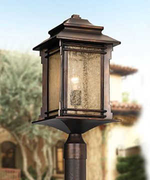 Hickory Point Rustic Outdoor Post Light Walnut Bronze Vintage 21 1 2 Frosted Cream Glass Lantern For Exterior Garden Yard Franklin Iron Works Farmhouse Goals
