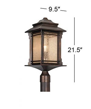 Hickory Point Rustic Outdoor Post Light Walnut Bronze Vintage 21 12 Frosted Cream Glass Lantern For Exterior Garden Yard Franklin Iron Works 0 4 300x360