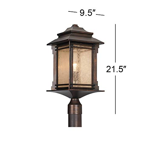 Hickory Point Rustic Outdoor Post Light Walnut Bronze Vintage 21 12 Frosted Cream Glass Lantern For Exterior Garden Yard Franklin Iron Works 0 4