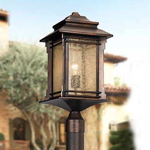 Hickory Point Rustic Outdoor Post Light Walnut Bronze Vintage 21 12 Frosted Cream Glass Lantern For Exterior Garden Yard Franklin Iron Works 0