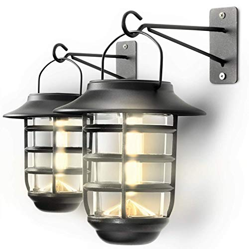 Home Zone Security Solar Wall Lantern Lights Outdoor 3000K Decorative Lantern Lights With No Wiring Required 2 Pack 0