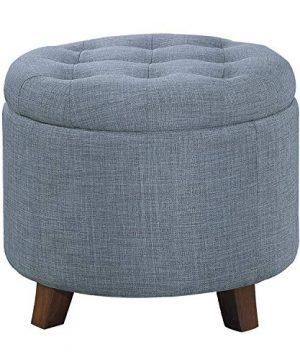 Homelegance Cleo 20 Round Fabric Storage Accent Ottoman Blue 0 300x360