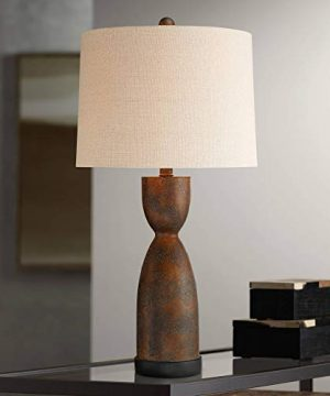 Horace Rustic Farmhouse Table Lamp Crackle Brown Oatmeal Tapered Drum Shade For Living Room Bedroom Bedside Nightstand Office Family Regency Hill 0 300x360