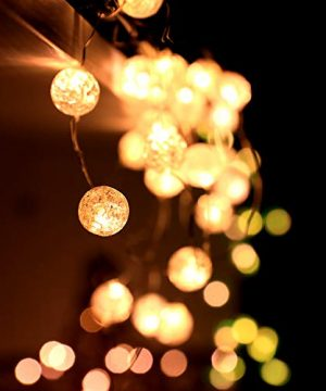 HuTools Globe String Lights For Bedroom Crystal Crackle Ball Lights 10FT 30 LED Warm White Battery Operated Fairy Hanging Lights Perfect For Indoor Outdoor Wedding Christmas Valentines Day 0 0 300x360
