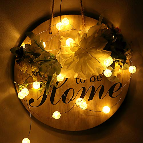 HuTools Globe String Lights For Bedroom Crystal Crackle Ball Lights 10FT 30 LED Warm White Battery Operated Fairy Hanging Lights Perfect For Indoor Outdoor Wedding Christmas Valentines Day 0 1