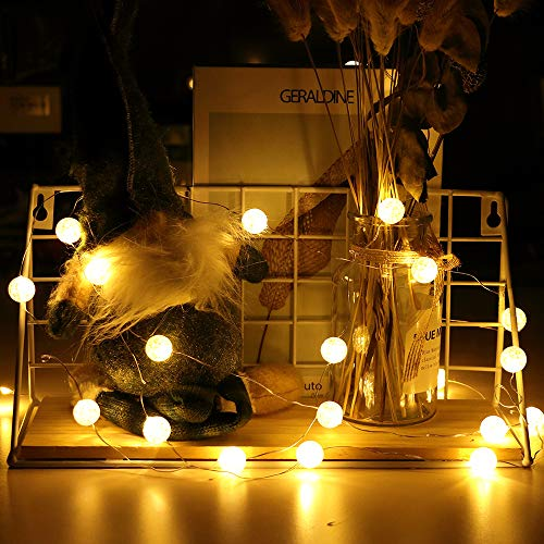Hutools Globe String Lights For Bedroom Crystal Crackle Ball Lights 10ft 30 Led Warm White Battery Operated Fairy Farmhouse Goals