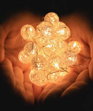 HuTools Globe String Lights For Bedroom Crystal Crackle Ball Lights 10FT 30 LED Warm White Battery Operated Fairy Hanging Lights Perfect For Indoor Outdoor Wedding Christmas Valentines Day 0 4 300x360