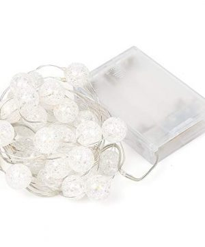 HuTools Globe String Lights For Bedroom Crystal Crackle Ball Lights 10FT 30 LED Warm White Battery Operated Fairy Hanging Lights Perfect For Indoor Outdoor Wedding Christmas Valentines Day 0 5 300x360