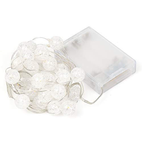 HuTools Globe String Lights For Bedroom Crystal Crackle Ball Lights 10FT 30 LED Warm White Battery Operated Fairy Hanging Lights Perfect For Indoor Outdoor Wedding Christmas Valentines Day 0 5