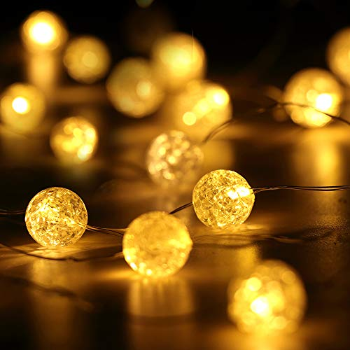 HuTools Globe String Lights For Bedroom Crystal Crackle Ball Lights 10FT 30 LED Warm White Battery Operated Fairy Hanging Lights Perfect For Indoor Outdoor Wedding Christmas Valentines Day 0