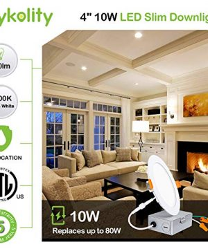 Hykolity 12 Pack 4 Inch LED Recessed Lighting With Junction Box Wet Location10W80W 3000K Warm White 650lm Dimmable Wafer Light Canless LED Recessed Ceiling Light ETL 0 0 300x360