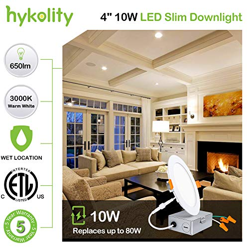 Hykolity 12 Pack 4 Inch LED Recessed Lighting With Junction Box Wet Location10W80W 3000K Warm White 650lm Dimmable Wafer Light Canless LED Recessed Ceiling Light ETL 0 0