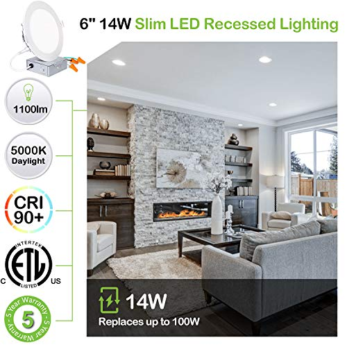 Hykolity 12 Pack 6 Inch Recessed Lighting With Junction Box CRI90 14W100W 5000K Daylight White 1100lm Dimmable Ultra Thin LED Downlight Canless LED Recessed Ceiling Light ETL 0 0