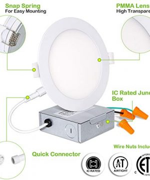Hykolity 12 Pack 6 Inch Recessed Lighting With Junction Box CRI90 14W100W 5000K Daylight White 1100lm Dimmable Ultra Thin LED Downlight Canless LED Recessed Ceiling Light ETL 0 3 300x360