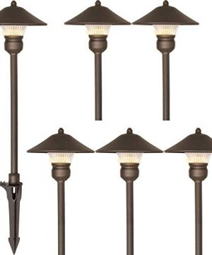 Hykolity 6 Pack Low Voltage LED Landscape Pathway Light 3W 150LM 12V Wired For Outdoor Yard Lawn Die Cast Aluminum Construction 30 Watt Equivalent 15 Year Lifespan 0 300x360
