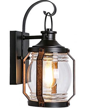 Canyon Outdoor Indoor Wall Light Fixture Led Bulb Included Black Wall Lighting Architectural Wall Sconce With Clear Farmhouse Goals