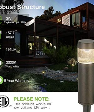 Hykolity Low Voltage LED Round Bollard Landscape Path Light 3W 191LM 12V Wired Outdoor LED Walkway Light For Yard LawnAluminum Construction 30 Watt Equivalent 15 Year Lifespan 6Pack 0 0 300x360