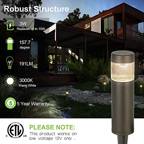 Hykolity Low Voltage LED Round Bollard Landscape Path Light 3W 191LM 12V Wired Outdoor LED Walkway Light For Yard LawnAluminum Construction 30 Watt Equivalent 15 Year Lifespan 6Pack 0 0