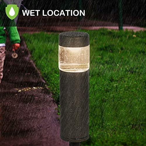 Hykolity Low Voltage LED Round Bollard Landscape Path Light 3W 191LM 12V Wired Outdoor LED Walkway Light For Yard LawnAluminum Construction 30 Watt Equivalent 15 Year Lifespan 6Pack 0 3