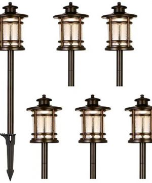 Hykolity Low Voltage ORB LED Landscape Path Light With Crackled Shade 34W 155LM 12V Wired Outdoor LED Walkway Light Die Cast Aluminum Construction 30 Watt Equivalent 15 Year Lifespan 6Pack 0 300x360