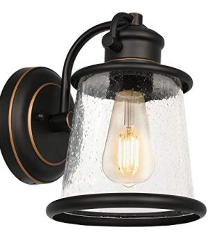 Hykolity Outdoor Indoor Wall Sconce LED Bulb Included Oil Rubbed Bronze Wall Light FixturesArchitectural Wall Sconce With Clear Seeded Glass Shade For Entryway Porch Doorway ETL Listed 0 300x360