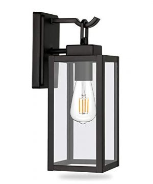 Hykolity Outdoor Wall Lantern LED Bulb Included Matte Black Wall Sconce Light Fixtures Architectural Fixture With Clear Glass Shade ETL List For Entryway Porch Doorway 0 300x360