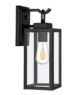 Hykolity Outdoor Wall Lantern With Dusk To Dawn Photocell LED Bulb Included Matte Black Wall Light Fixtures Architectural Wall Sconce With Clear Glass Shade For Entryway Porch Doorway ETL Listed 0 300x360