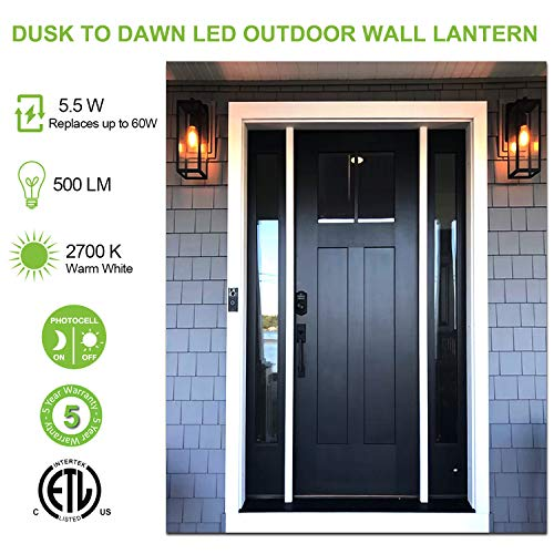 Hykolity Outdoor Wall Lantern With Dusk To Dawn Photocell LED Bulb Included Matte Black Wall Light Fixtures Architectural Wall Sconce With Clear Glass Shade For EntrywayPorchDoorwayETL 2 Pack 0 0