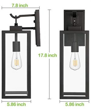 Hykolity Outdoor Wall Lantern With Dusk To Dawn Photocell LED Bulb Included Matte Black Wall Light Fixtures Architectural Wall Sconce With Clear Glass Shade For EntrywayPorchDoorwayETL 2 Pack 0 2 300x360