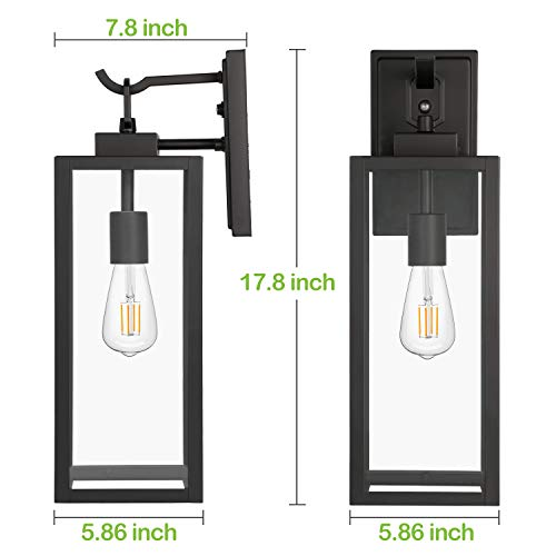 Hykolity Outdoor Wall Lantern With Dusk To Dawn Photocell LED Bulb Included Matte Black Wall Light Fixtures Architectural Wall Sconce With Clear Glass Shade For EntrywayPorchDoorwayETL 2 Pack 0 2