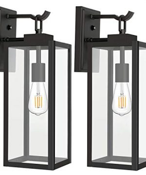 Hykolity Outdoor Wall Lantern With Dusk To Dawn Photocell LED Bulb Included Matte Black Wall Light Fixtures Architectural Wall Sconce With Clear Glass Shade For EntrywayPorchDoorwayETL 2 Pack 0 300x360