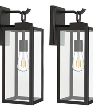 Hykolity Outdoor Wall Lantern With ST19 LED Bulb2700K60W Equivalent Matte Black Wall Light Fixtures Architectural Wall Sconce With Clear Glass Shade For Entryway Porch Doorway ETL Listed2 Pack 0 300x360