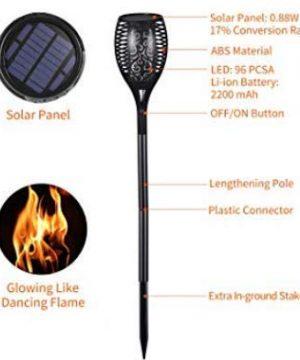 Iyoyo 1 Pack Solar Torch Light 3 Lighting Mode Landscape Decoration Dancing Flame Lights For Garden 0 1 300x360
