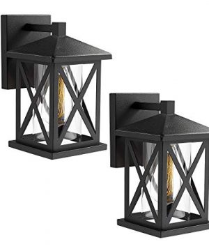 JAZAVA Outdoor Wall Mount Light Fixtures 2 Pack Industrial Exterior House Lights Wall Sconce Lantern 103 Inches Height Porch Lights Matte Black Finish With Clear Glass 0 300x360