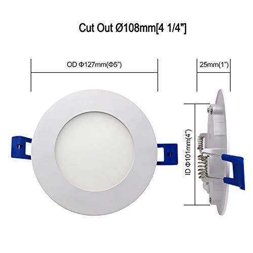 JULLISON LED 16 Packs 4 Inch Recessed Low Profile Slim Panel Light With Junction Box Air Tight 120VAC 9W 550 Lumens 5000K Daylight White CRI80 Dimmable ETL Listed Energy Star Certified 0 0