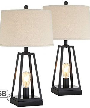 Kacey Industrial Farmhouse Table Lamps Set Of 2 With USB Charging Port Nightlight LED Open Column Dark Metal Oatmeal Fabric Drum Shade For Living Room Bedroom Bedside Nightstand Franklin Iron Works 0 0 300x360