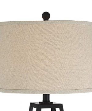 Kacey Industrial Farmhouse Table Lamps Set Of 2 With USB Charging Port Nightlight LED Open Column Dark Metal Oatmeal Fabric Drum Shade For Living Room Bedroom Bedside Nightstand Franklin Iron Works 0 1 300x360