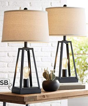 Kacey Industrial Farmhouse Table Lamps Set Of 2 With USB Charging Port Nightlight LED Open Column Dark Metal Oatmeal Fabric Drum Shade For Living Room Bedroom Bedside Nightstand Franklin Iron Works 0 300x360
