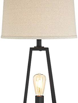 Kacey Industrial Farmhouse Table Lamps Set Of 2 With USB Charging Port Nightlight LED Open Column Dark Metal Oatmeal Fabric Drum Shade For Living Room Bedroom Bedside Nightstand Franklin Iron Works 0 5 274x360