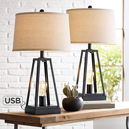 Kacey Industrial Farmhouse Table Lamps Set Of 2 With USB Charging Port Nightlight LED Open Column Dark Metal Oatmeal Fabric Drum Shade For Living Room Bedroom Bedside Nightstand Franklin Iron Works 0