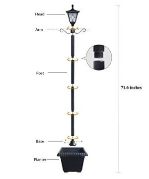 Kemeco ST4221SSP4 LED Cast Aluminum Solar Lamp Post Light With Planter Arm Hook For Outdoor Landscape Pathway Street Patio Garden Yard 0 2 300x360