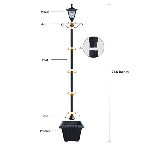 Kemeco ST4221SSP4 LED Cast Aluminum Solar Lamp Post Light With Planter Arm Hook For Outdoor Landscape Pathway Street Patio Garden Yard 0 2