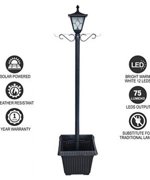 Kemeco ST4221SSP4 LED Cast Aluminum Solar Lamp Post Light With Planter Arm Hook For Outdoor Landscape Pathway Street Patio Garden Yard 0 4 300x360