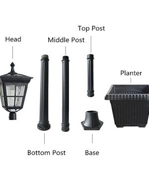 Kemeco ST4311AHP 6 LED Cast Aluminum Solar Lamp Post Light With Planter For Outdoor Landscape Pathway Street Patio Garden Yard 0 1 300x360